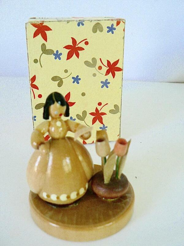 VINTAGE  ERZGEBIRGE GERMANY WOMAN IN DRESS WITH TULIPS AND BOX