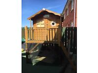 Child's kids play house outdoor hut with slide