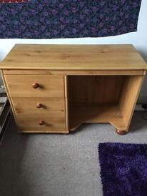 Three drawer wooden desk