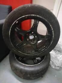 """2 x Advan RC 16"""" 5x100 alloy wheels + semi slick / track / rally tyres"""