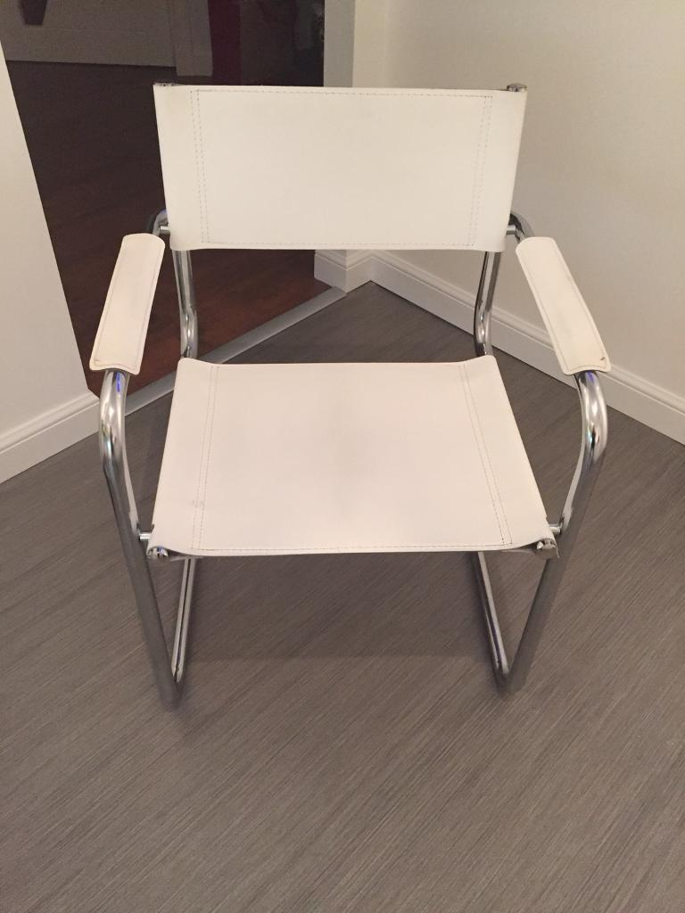2 x White Leather occasional chairs