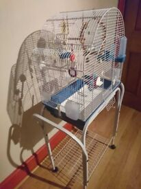 Bird Cage and Stand in very good condition with various accessories.