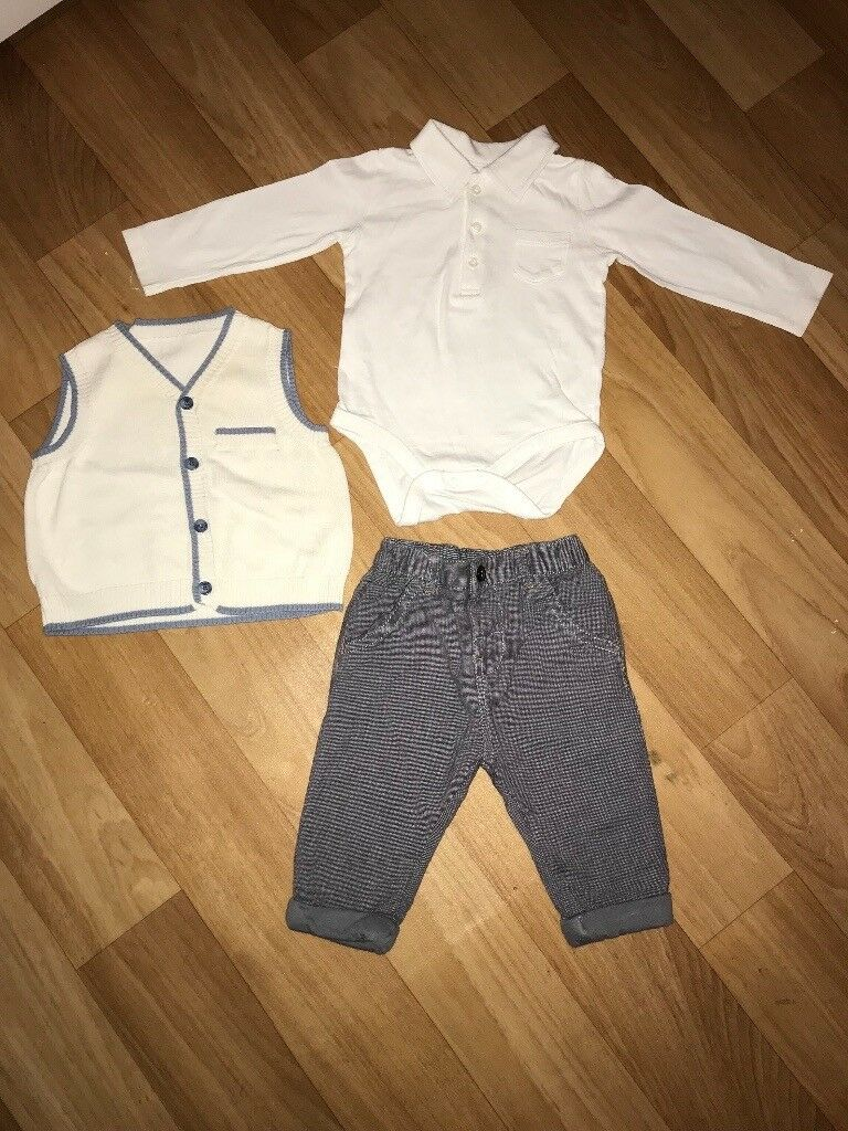 3 piece suit Next, little white company, baby boutique 3-6 months