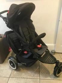 Phil Ted dot double buggy and baby cocoon