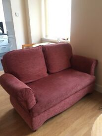 Two seater sofa AND reclining armchair RED