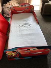 Toddler cars bed, mattress & sheets