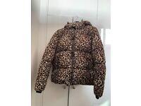 Size 14 leopard print puffer jacket