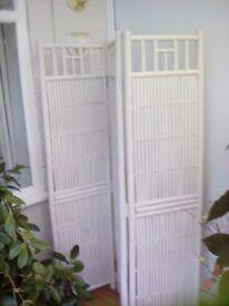 Bamboo tri fold screen painted matt white
