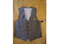 New with Tags River Island Mens Grey Waistcoat - XL - Smart Formal Work Wedding - RRP £40