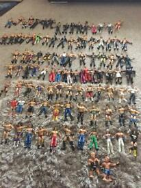 WWE wrestling figures, over 100