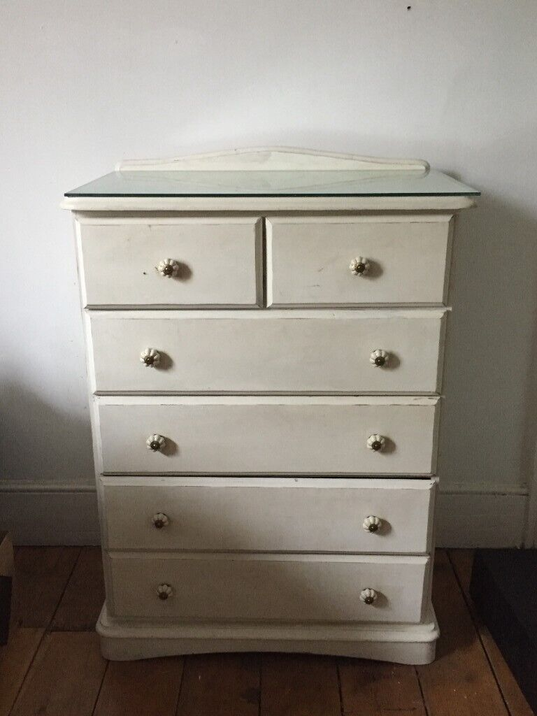 Cream Bedroom Furniture Set - Bedside table, Chest of Drawers, Dressing  Table French Vintage Antique | in Hackney, London | Gumtree