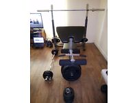 BodyMax CF353 Olympic weight bench set and Olympic rubber radial plates 110kg