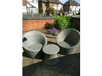 Brand new rattan egg chairs with table