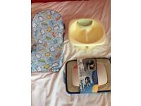 Baby items- bath seat, top and tail bowl and car mirror