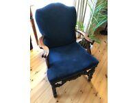 Vintage Hogh Back Blue Velour Armchair