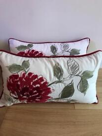 Stunning pair of Marks & Spencer's cream, red and green cushions.