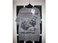 New Mens Grey VW Design T Shirt Size Large IP1