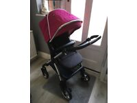 Silver cross wayfarer pram/pushchair/car seat raspberry colour pack