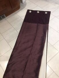 Pair of modern satin curtains, deep plum