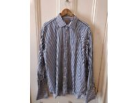 """Blue and White Striped Shirt. 19"""" collar. Double Cuff. Regular Fit. Savoy Taylors Guild. Moss Bross"""