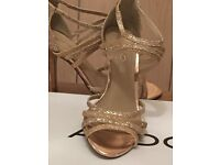 Aldo ladies gold strappy shoes and bag (size 4)