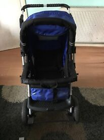 Blue and black travel system