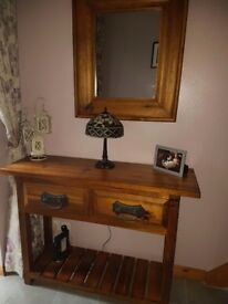 Hall table and matching mirror
