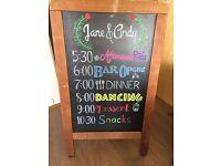 Large Sidewalk/Freestanding Chalkboard - perfect for a wedding, pub, party