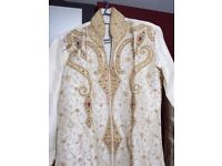 Mens Wedding Suit: Mens Asian Groom Traditional Ivory Silk Sherwani with Diamante Size 40
