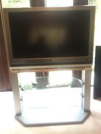 32 inch Toshiba TV with glass tiered stand