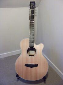Tanglewood TW1 Super Folk Cutaway Electro Acoustic Guitar.