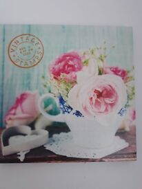 Flowers and Teacup Canvas
