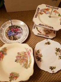 JOB LOT OF VINTAGE CAKE PLATES CAKE STANDS £25 THE LOT