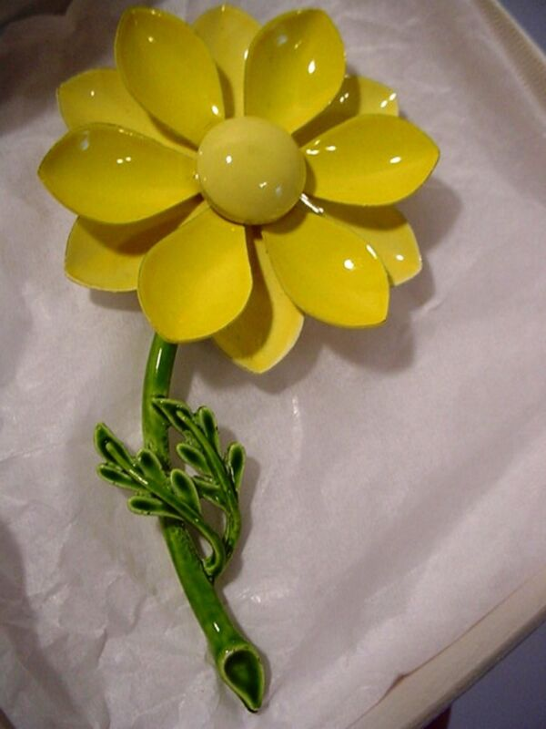 Vintage Stemmed Riveted Metal Yellow Enameled Flower Pin