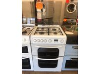 HOTPOINT 60CM ALL GAS COOKER IN WHITE WITH LID