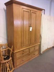 Victorian Pitch Pine Wardrobe for Sale