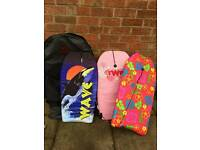 Bulldog bodyboards bag and 3 bodyboards