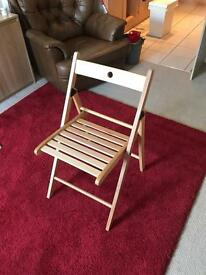 Fold away wooden chairs x4