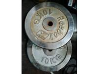 2 x Reebok 10kg Cast Iron Weight Plates