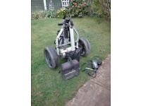 Electric golf trolley John Letters cart bag and trolley carry bag good condition