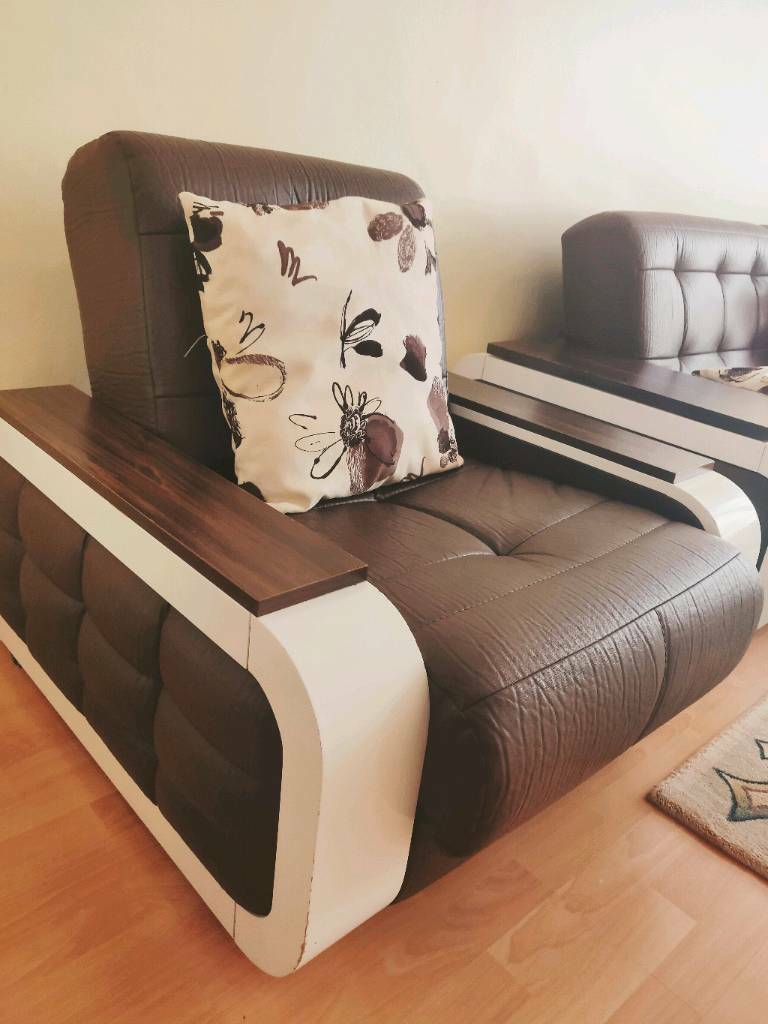 3 2 1 Seater Leather Recliner Sofa Set And Large Foot Stool Puff