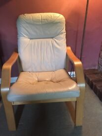 Three seater leather settee and chair
