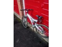 Female Shockwave bike for sale in excellent condition with disk brakes and brand new bike lock.