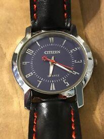 Watch Citizen Quartz + high quality real leather strap