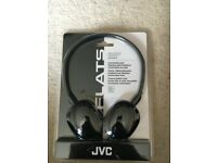 BRAND NEW Black JVC Headphones, foldable, stainless steel headband and soft ear pads