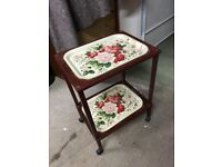 Vintage/retro tea trolley on wheels with removable floral tray