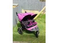Out and about double pram Nipper V4 Purple