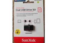 ( New and Sealed ) SanDisk Ultra 32 GB Dual USB Flash Drive 3.0 up to 150 MB/s - Black