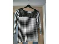 NAVY AND WHITE STRIPPED LONG SLEEVED T SHIRT WITH LACE INSERT ON TOP size 14