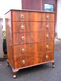 Vintage retro tallboy chest Beithcraft Furniture solid wood chest of drawers mid-century retro home